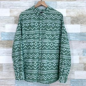 Aztec Print Shirt Green White Modern Amusement